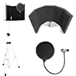 AxcessAbles SF-101KIT-W Recording Studio Microphone Isolation Shield with Tripod Stand