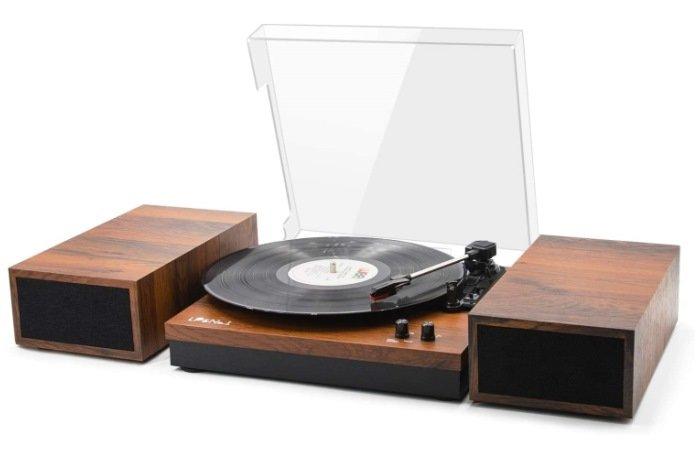 LP & No.1 Retro Belt-Drive Bluetooth Turntable with Stereo Bookshelf Speakers