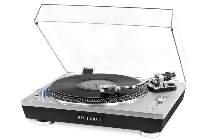 Victrola Pro Series USB Record Player with 2-Speed Turntable and Dust Cover Silver